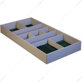 باکس زیور آلات چرم کامپکت داخل کشو سری 1 رنگ خاکی سایز 60 فانتونی مدل J644
