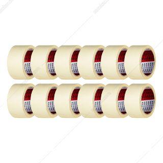 چسب نواری کاغذی S3 مدل 50 میلیمتر بسته 12 عددی